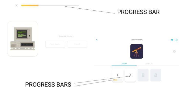Progress bars on Tinycards