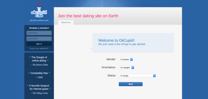 OkCupid, 2010.  More details + one irrelevant question.