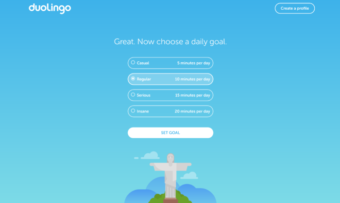 Duolingo asks for goals early on in the process